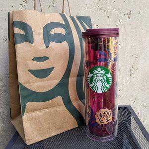 NWT Starbucks Magenta Pink Blue Rose Tumbler 16oz.